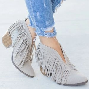 GREY FRINGE V CUT STACKED HEEL ANKLE BOOTS